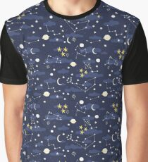 cosmos, moon and stars. Astronomy pattern Graphic T-Shirt