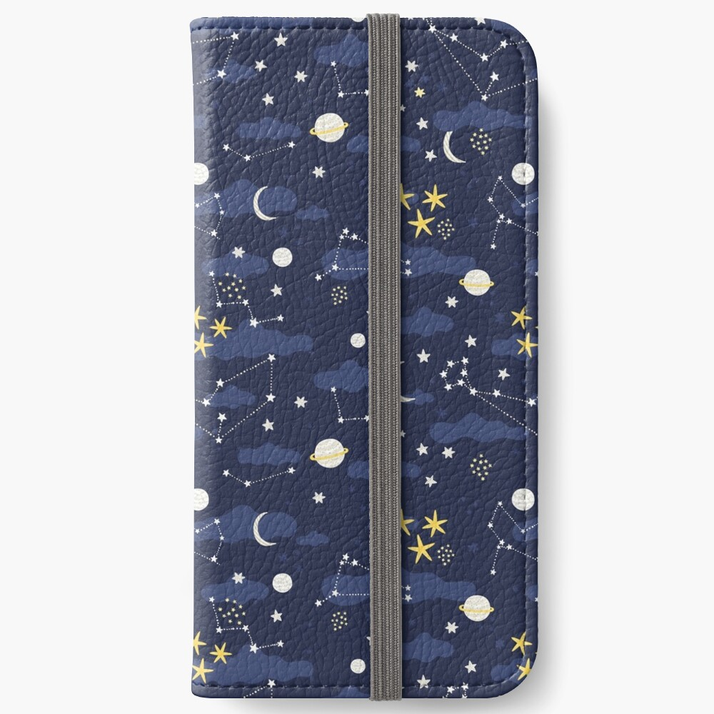 cosmos, moon and stars. Astronomy pattern iPhone Wallet