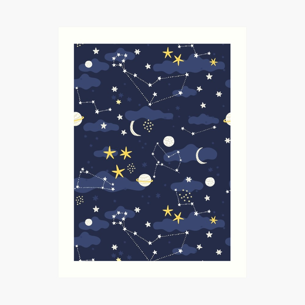 cosmos, moon and stars. Astronomy pattern Art Print