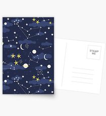 cosmos, moon and stars. Astronomy pattern Postcards