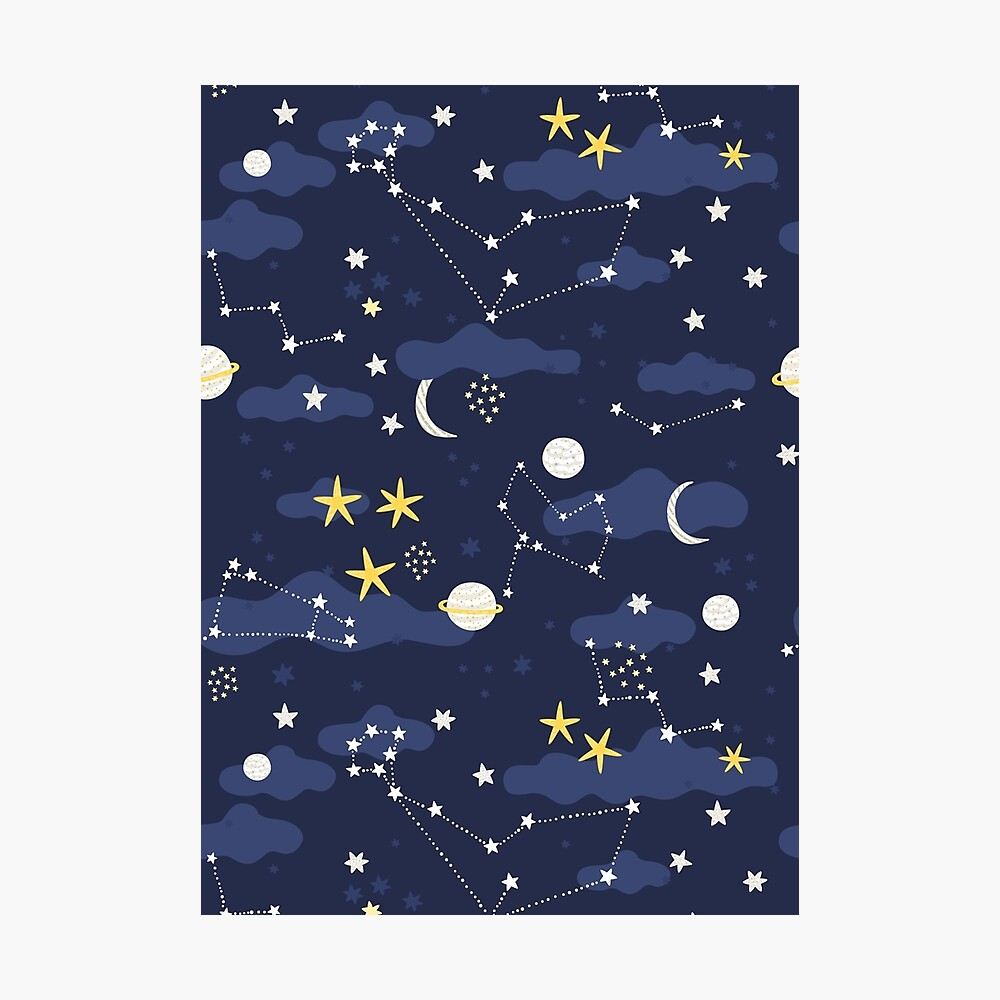 cosmos, moon and stars. Astronomy pattern Photographic Print