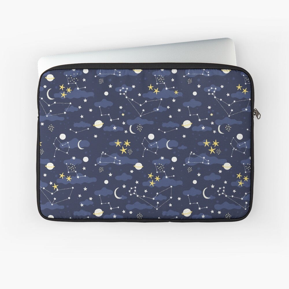 cosmos, moon and stars. Astronomy pattern Laptop Sleeve