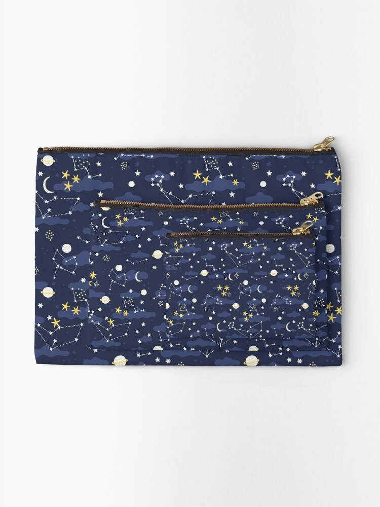 Alternate view of cosmos, moon and stars. Astronomy pattern Zipper Pouch