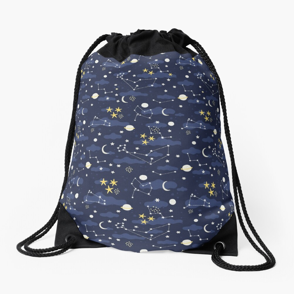 cosmos, moon and stars. Astronomy pattern Drawstring Bag