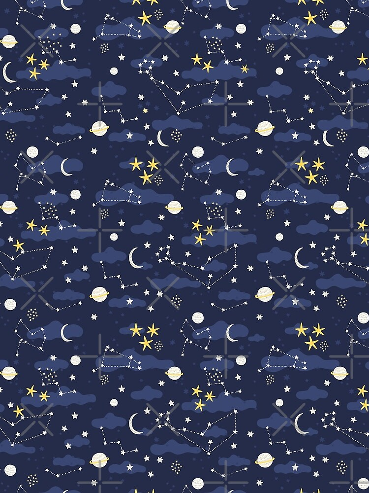 cosmos, moon and stars. Astronomy pattern by kostolom3000