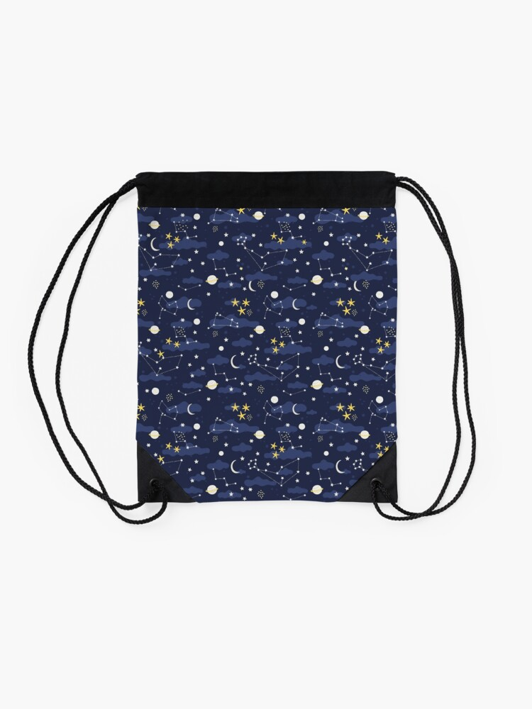 Alternate view of cosmos, moon and stars. Astronomy pattern Drawstring Bag