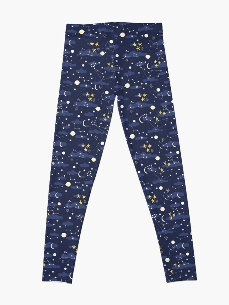 Alternate view of cosmos, moon and stars. Astronomy pattern Leggings