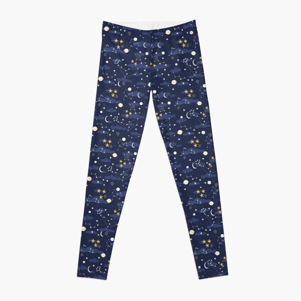 cosmos, moon and stars. Astronomy pattern Leggings