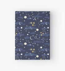 cosmos, moon and stars. Astronomy pattern Hardcover Journal