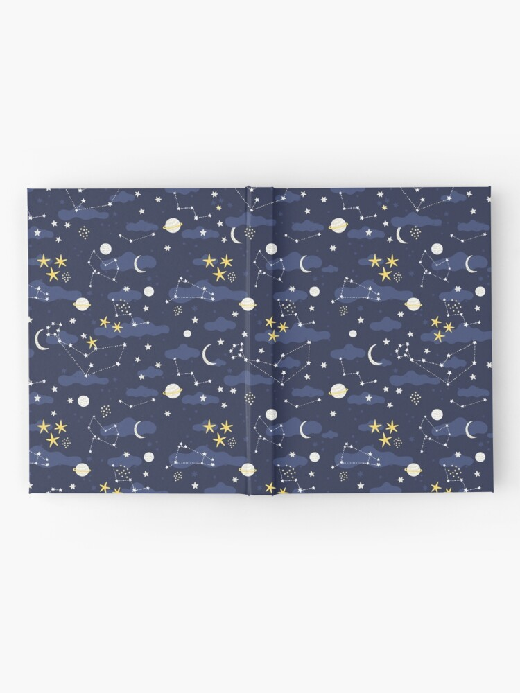 Alternate view of cosmos, moon and stars. Astronomy pattern Hardcover Journal