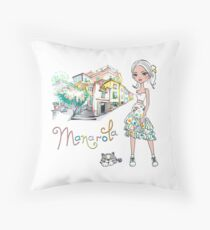 Fashionable girl and cute cat in Manarola Throw Pillow