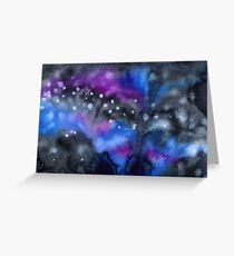 Watercolor colorful starry space galaxy background Greeting Card
