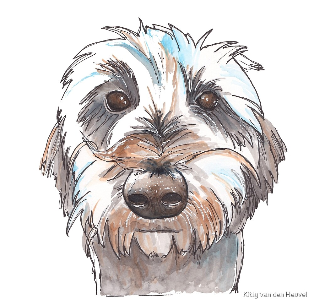 Does my hair look good? Dog portrait illustration in watercolors by Kitty van den Heuvel