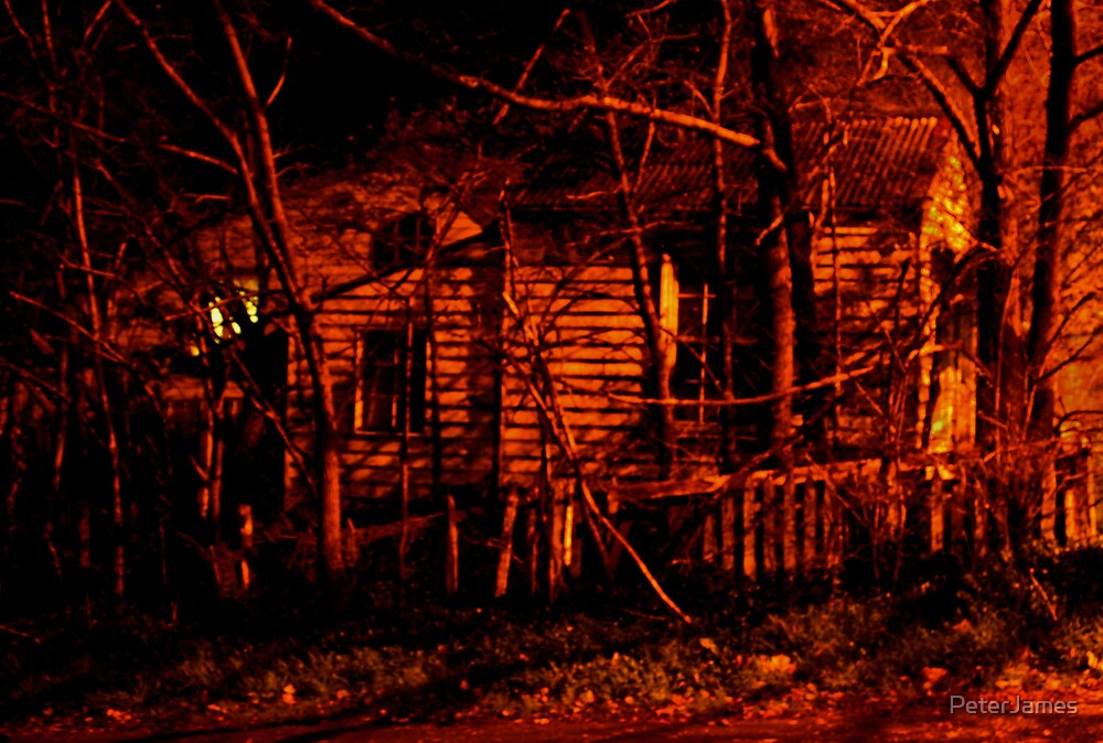 House (white picket fence) in the Red Night by PeterJames