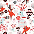 Seamless New Year pattern with portraits of deer by Tanor