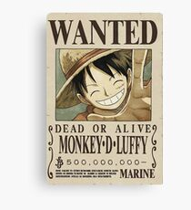 Wanted Luffy One Piece Canvas Print