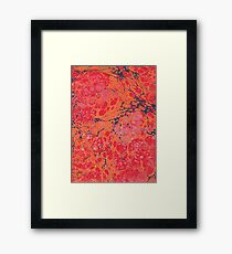 Orange red and purples marbled paper Framed Print