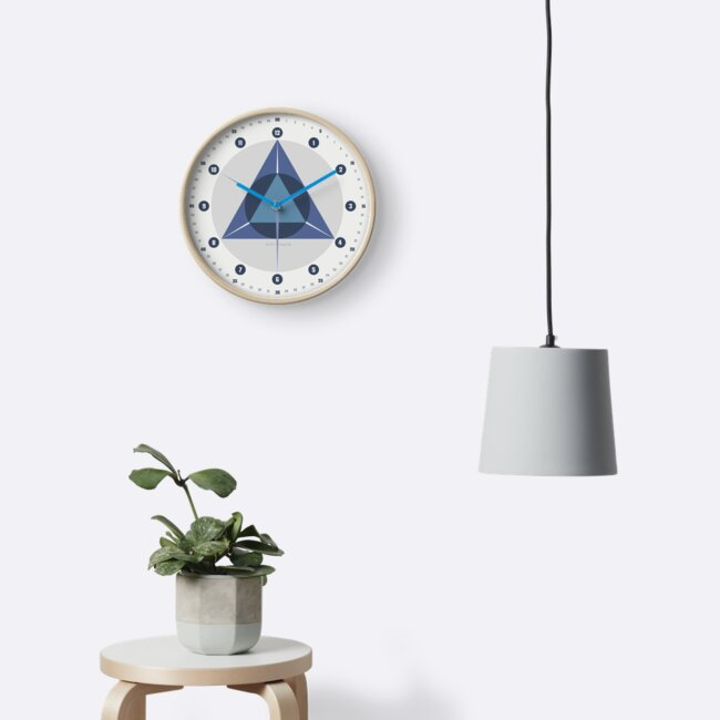 Retro Wanduhr Geometrisch Skandinavisch Blue Trigonom Circle © hatgirl.de von hatgirldesign