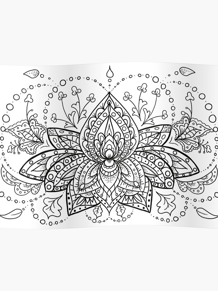 Lotus Flower Zentangle Mandala Black And White Design Poster By