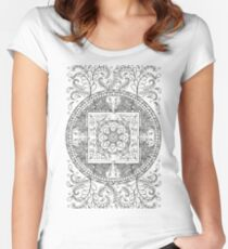 Traditional Elephant Mandala Black and White Design Fitted Scoop T-Shirt
