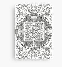 Traditional Elephant Mandala Black and White Design Canvas Print