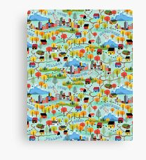 Illustrated Map Fall Color Roadtrip Canvas Print