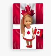 °♥ ˚ • ★PATRIOTIC DOLL WAVING HER FLAG FOR CANADA TRUE PATRIOT LOVE °♥ ˚ • ★ Canvas Print