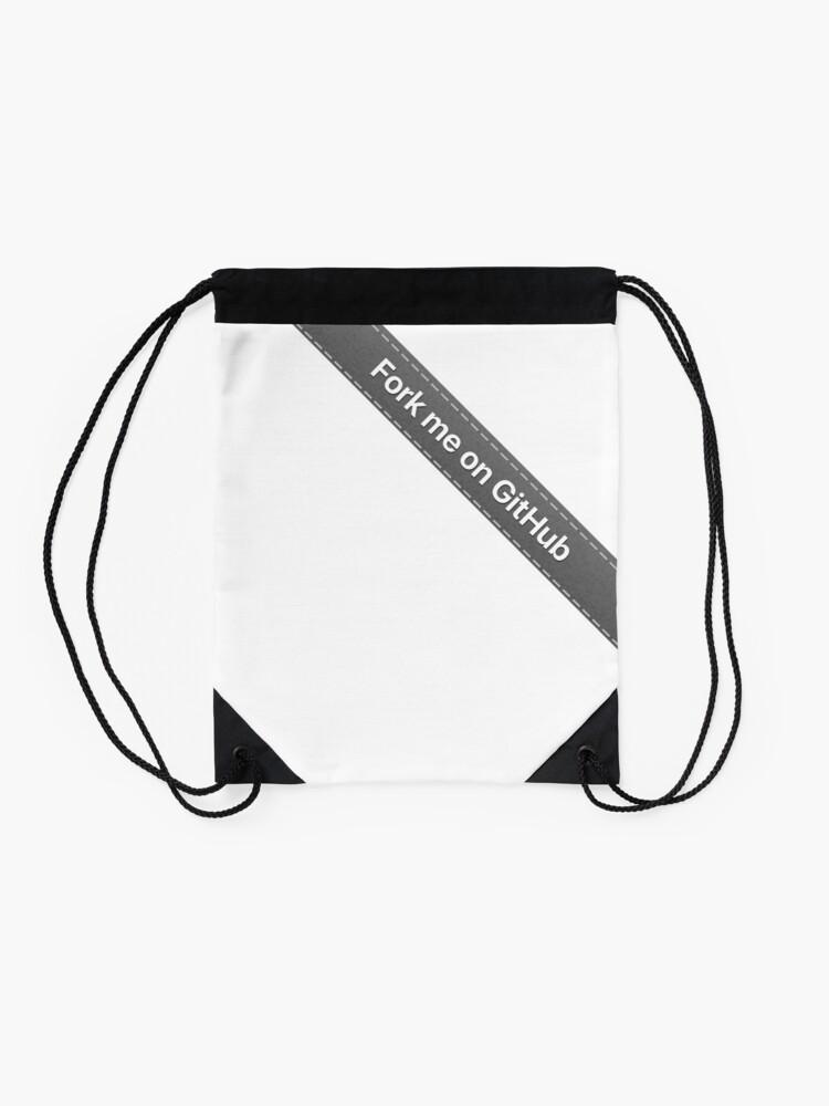 Fork me on Github Ribbon Gray   Drawstring Bag