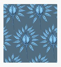 abstract nature textile pattern blue Photographic Print