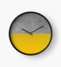 Concrete and Mustard Color Block  Clock