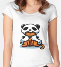 Vintage Hipster Grumpy Panda Cat T-shirt Women's Fitted Scoop T-Shirt