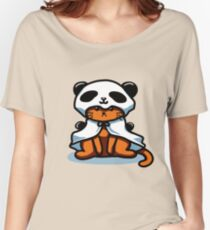 Vintage Hipster Grumpy Panda Cat T-shirt Women's Relaxed Fit T-Shirt
