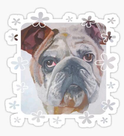 American Bulldog Portrait Vector With Decorative Border Sticker