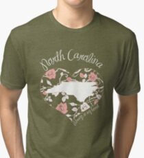 North Carolina - Always In My Heart (Pastel Color Version) Tri-blend T-Shirt