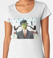 Ear Smoking Apple Guy Standing in the Man Rain Women's Premium T-Shirt
