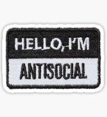 Hello Im Antisocial Patch Sticker