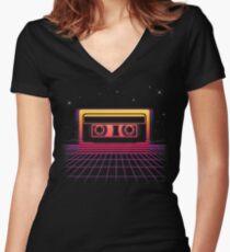 Sunset Cassette II Women's Fitted V-Neck T-Shirt