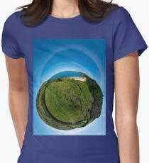 Kinnagoe Bay (as a floating green planet) Women's Fitted T-Shirt