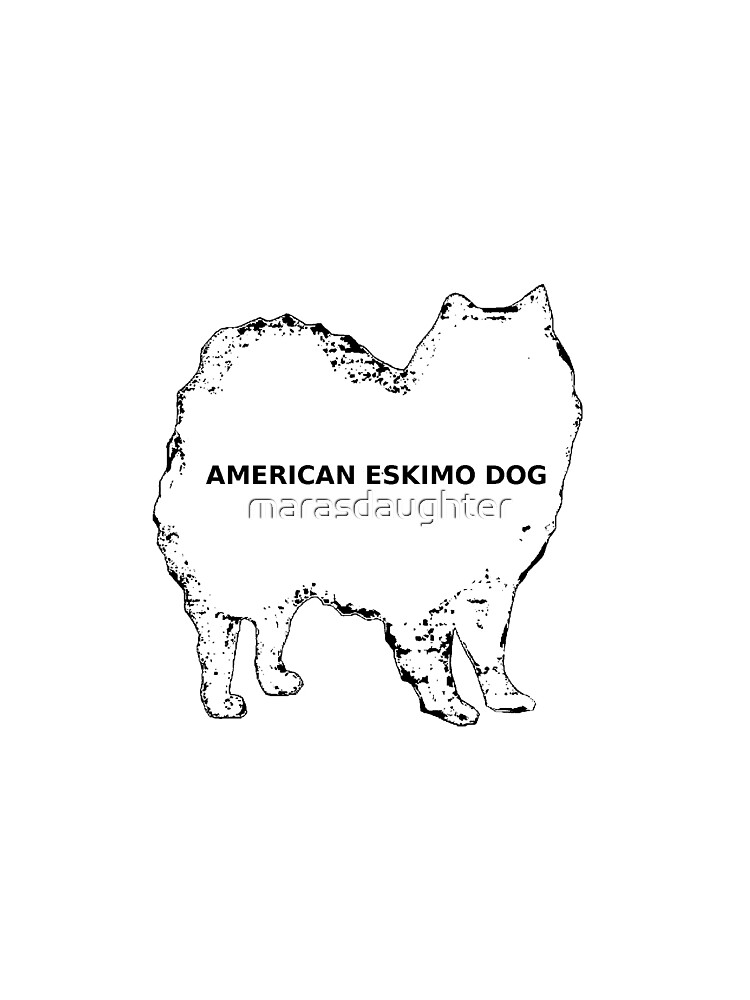 american eskimo dog name white silhouette graphic t shirt by