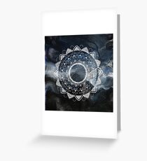 Precious white mandala on sky Greeting Card