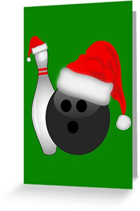 christmas bowling greeting cards by gravityx9 redbubble