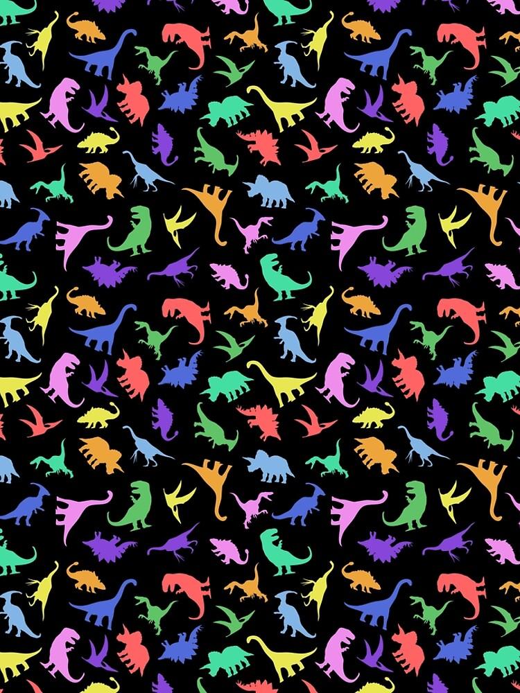 Patrón de dinosaurio divertido (fondo negro) de jezkemp