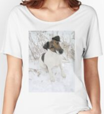 smooth fox terrier sitting in snow Women's Relaxed Fit T-Shirt
