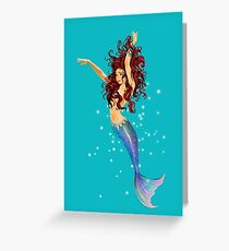 Mermaid - Transparent Background, Auburn Hair, Blue Eyes Greeting Card