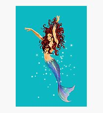 Mermaid - Transparent Background, Auburn Hair, Blue Eyes Photographic Print