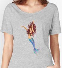 Mermaid - Transparent Background, Auburn Hair, Blue Eyes Women's Relaxed Fit T-Shirt
