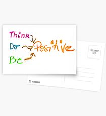 Think Positive, colorful hand writing on paper, positive thinking conceptual image Postcards