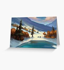 Wolves by a Frozen Lake Greeting Card