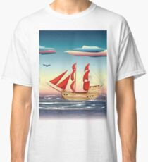 Old sailing ship on the open ocean at sunset 2 Classic T-Shirt