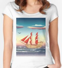 Old sailing ship on the open ocean at sunset 2 Women's Fitted Scoop T-Shirt